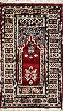 61x127 Bokhara Jaldar Area Rug with Wool Pile - Prayer Design | 100% Original Hand-Knotted in Red,Grey,Black colors | a 61 x 122 Rectangular Rug