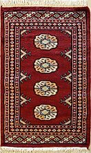 61x94 Bokhara Jaldar Area Rug with Wool Pile - Special Mori Bokhara Design | 100% Original Hand-Knotted in Red,White,Black colors | a 61 x 91 Rectangular Rug
