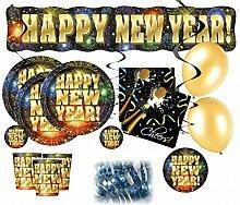62 Teile Silvester Party Deko Set für 16 Personen - Happy New Year