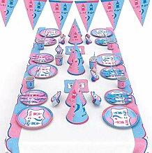 62-teiliges Party-Set/Einweggeschirr-Set -