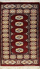 63x122 Bokhara Jaldar Area Rug with Silk & Wool Pile - Special Mori Bokhara Design   100% Original Hand-Knotted in Red,Gold,Black colors   a 61 x 122 Rectangular Rug