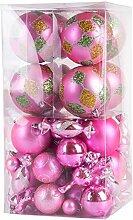 64 Stück Luxus Sortiert Weihnachtsbaum Kugeln Dekoration Set (Pink)