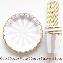 65 Stücke Gold Wave Einweg Pappbecher Pappteller