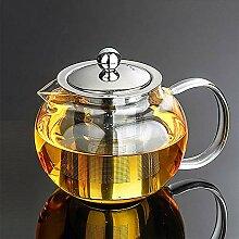 650 ml Borosilikatglas-Teekanne mit Edelstahlsieb,