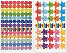 650 Stück Smiley-Aufkleber Smiley-Stern-Aufkleber