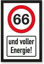 66 Jahre Voller Energie, Schild - Geschenk 66. Geburtstag, Geschenkidee Geburtstagsgeschenk zum Sechsundsechzigsten, Geburtstagsdeko / Partydeko / Party Zubehör / Geburtstagskarte