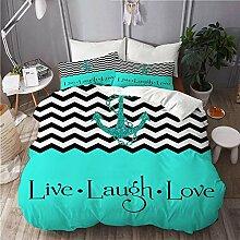 665 Bettwäsche-Set,Mikrofaser,Live Lachen Liebe