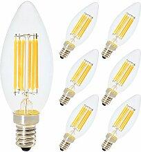 6er 6W E14 LED Filament Dimmbar Glühfaden