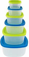 6er Dosenset, Frischhaltedosenset, Vorratsdosenset, Multifunktionsbox, Plastikschüsseln mit Deckel, stapelbar geeignet für Mikrowelle, Gefrierschrank und Spülmaschine
