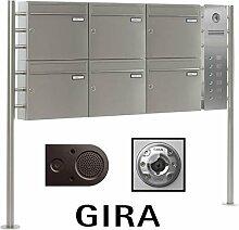 6er Edelstahl Briefkastenanlage freistehend BASIC 810-SP mit Klingel - Namensschilder - GIRA Kamera & Einbaulautsprecher
