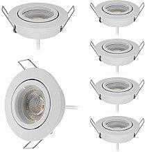 6er LED Einbaustrahler Ultra Flach in Weiß mit
