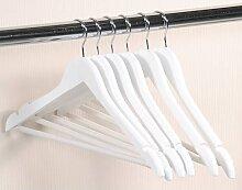 6er Pack Kleiderbügel mit Hosensteg weiß lackiert B. 44,5cm Lotusholz Kesper (11,50 EUR / Stück)