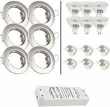 6er Set 12V LED Einbaustrahler Lorenz IP20 Farbe