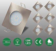 6er set 12W LED Einbaustrahler flach 950lm Led