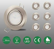6er set 6W LED Einbaustrahler flach 120°