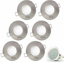 6er Set AQUA IP44 230V LED SMD 4W Warmweiß Decken