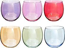 6er-Set Becher COLORAMA aus Glas, bunt