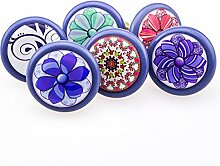 6er_Set_blau/lila_Ornamente 3D Dekor Vintage Keramik Möbelknopf Möbelknauf Möbelgriff, 2 Wahl