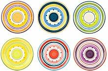 6er Set Dessertteller Cefalu im farbenfrohen