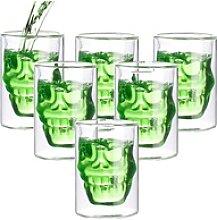 6er-Set doppelwandige Trinkgläser Totenkopf, je
