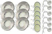 6er Set Einbaustrahler IP65 Optik: Edelstahl gebürstet Bad   Dusche   Sauna   inkl. GU10 5Watt LED Leuchtmittel 3000Kelvin (warm-weiß) 430Lumen (Leuchtmittel austauschbar)   Einbauleuchten Edelstahl lackiert rostfrei