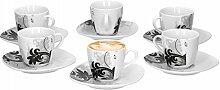 6er Set Espressotasse mit Untertasse Black Flower