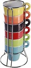 6er Set farbige Espressotassen im Ständer als