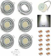 6er Set flacher LED Einbaustrahler Farbe Chrom mit
