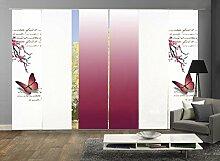 6er-Set Flächenvorhang, Deko blickdicht, ALESSIA, Höhe 245 cm, 2x Dessin fuchsia/2x uni weiß blickdicht/2x Farbverlauf fuchsia