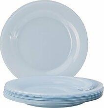 6er Set Glasteller Serie Tone, Farbe:pale blue,