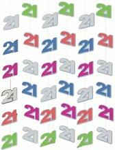 6er SET Hängedeko 21. Geburtstag Girlanden Dekoration