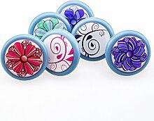 6er_Set_hellblau_Ornamente 3D Dekor Vintage Keramik Möbelknopf Möbelknauf Möbelgriff, 2 Wahl