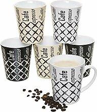 6er-Set Kaffee-Becher Keramik, je 2 St.