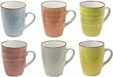 6er Set Kaffee Becher Tassen Tee Kakao Pott Uni