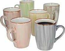 6er-Set Kaffeebecher Modern Art I Streifen I