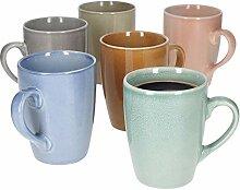 6er-Set Kaffeebecher Stone Pastell I 320 ml I