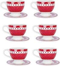 6er SET Kaffeetassen mit Untertasse PUNKTE + HERZEN H. 8cm weß rot Clayre & Eef (49,50 EUR / Stück)