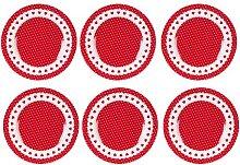 6er SET Kleine Teller Kuchenteller PUNKTE + HERZEN D. 21cm rot weiß Clayre & Eef (64,95 EUR / Stück)