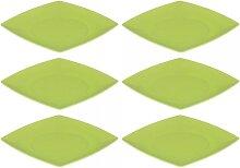 6er SET Kuchenteller, Dessertteller flach eckig 21cm grün Magu NATUR DESIGN (29,95 EUR / Stück)