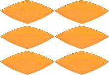 6er SET Kuchenteller, Dessertteller flach eckig 21cm orange Magu NATUR DESIGN (29,95 EUR / Stück)
