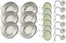 6er Set KW Einbaustrahler IP65 Farbe Edelstahl