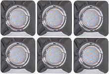 6er Set LED Einbau Strahler Decken Lampen chrom