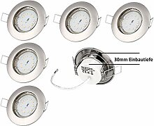 6er Set LED Einbaustrahler Lorenz flach 5W 230V in