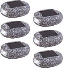 6er Set LED Solar Außen Stein Lampen Terrassen