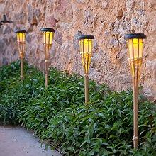 6er Set LED Solar Bambus Gartenfackeln 58cm Lights4fun