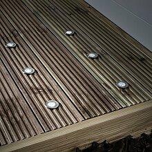 6er Set LED Solar Bodeneinbaustrahler Weiß