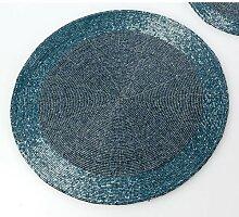 6er SET Platzset Deckchen PERLEN blau D. 30cm rund