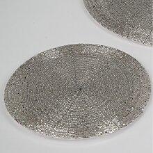 6er Set Platzset, Untersetzer PERLEN Kunststoff silber rund Ø 30cm Formano (36,95 EUR / SET)