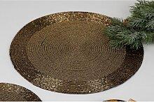 6er SET Platzset, Untersetzer Tischsets PERLEN, gold, Ø 30cm, rund Formano (34,95 EUR / SET)