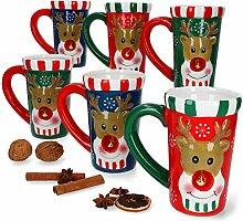6er Set Rentier Kaffeebecher mit Glöckchen I 290